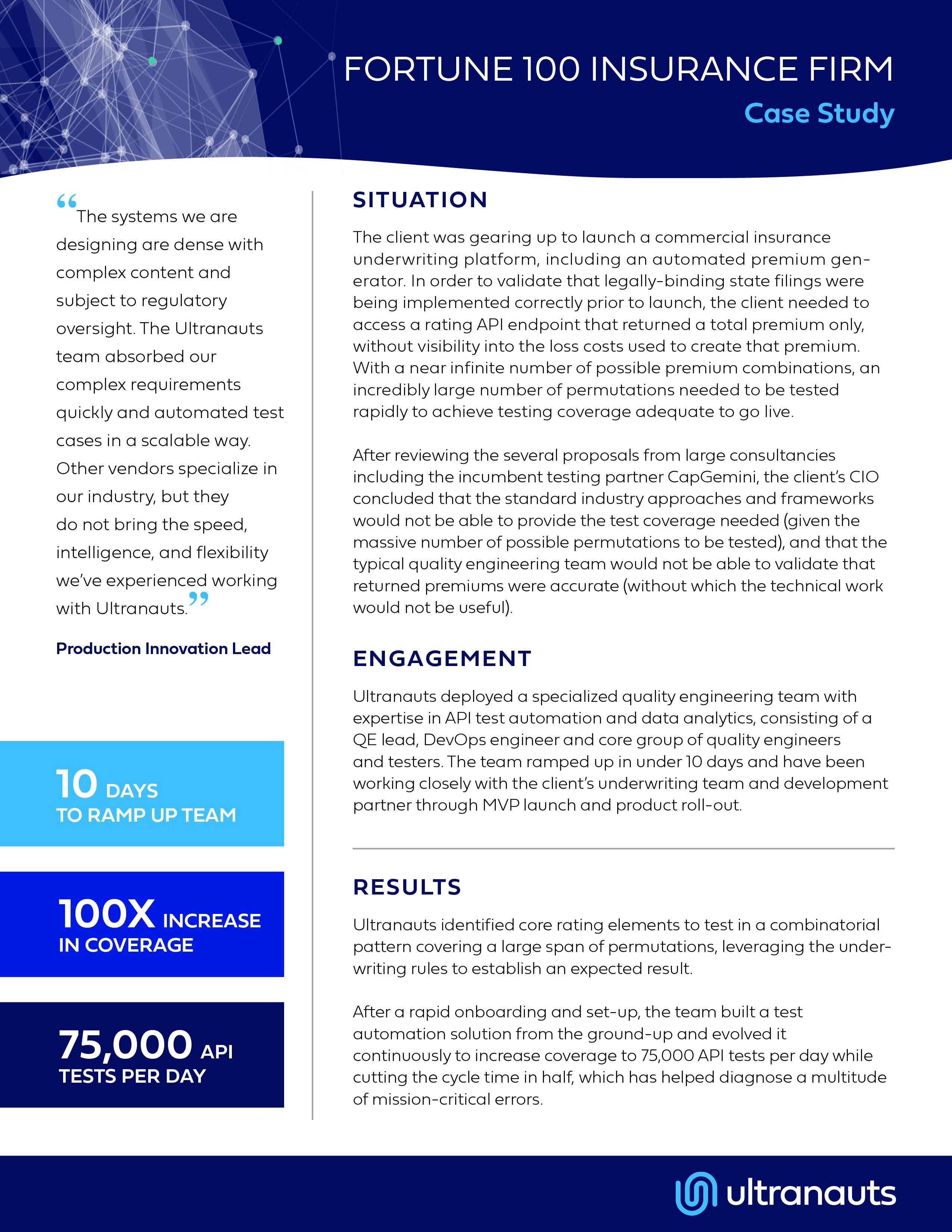 Ultranauts - Fortune 100 Insurance - Case Study