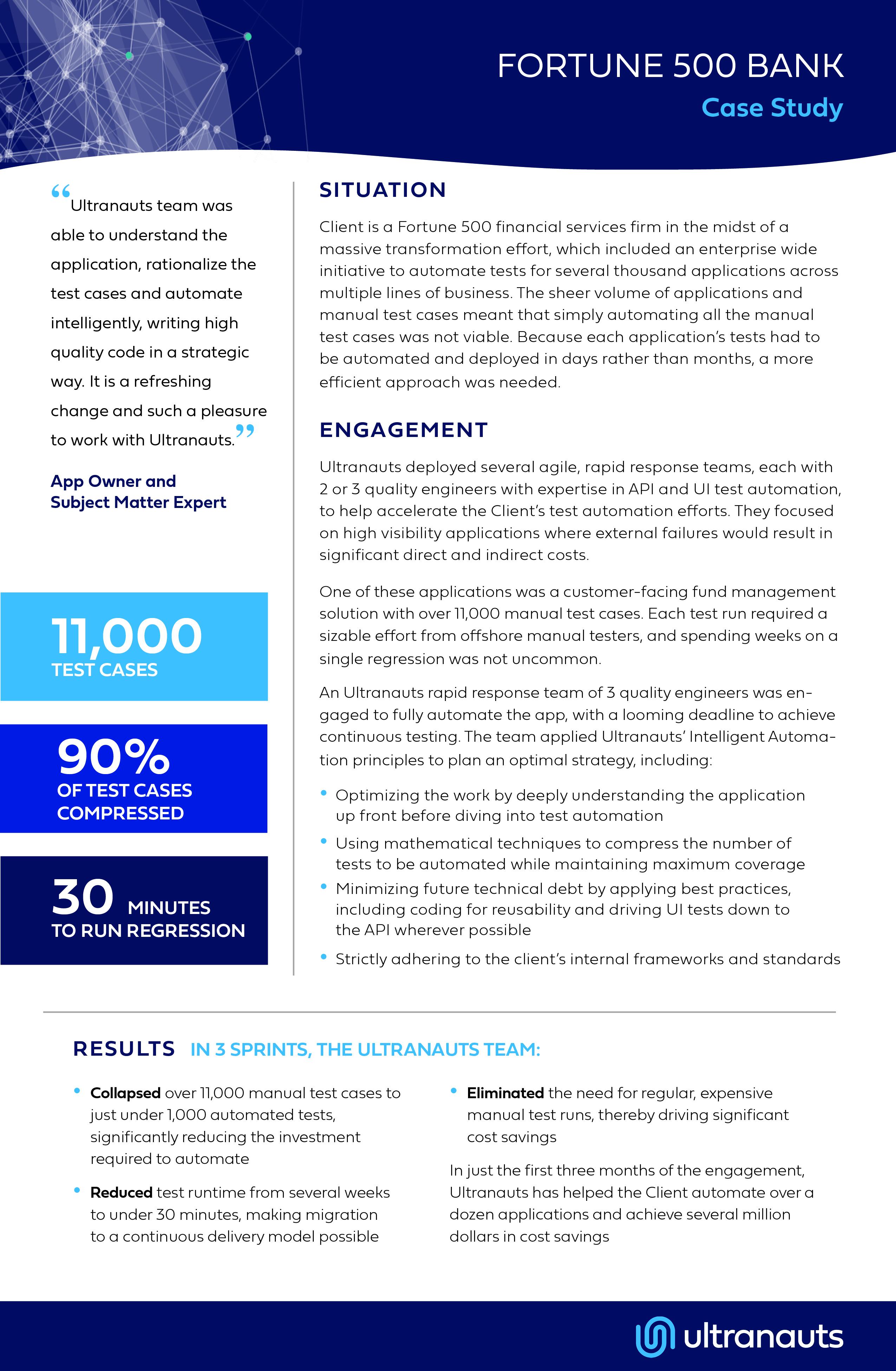 Ultranauts - Fortune 500 Bank Case study